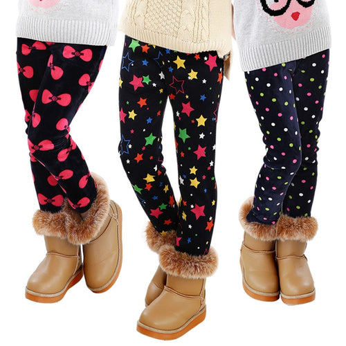 Trendy Printed Fleece-lining Warm Leggings