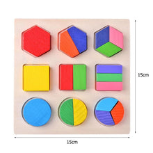 Load image into Gallery viewer, Wooden Geometric Shapes Educational Puzzle / Game for toddlers