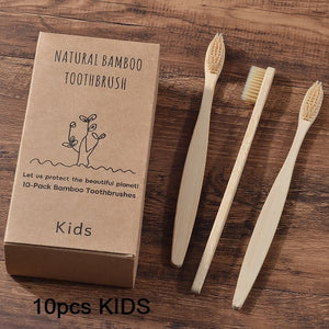 Multi-Pack Parent & child Eco Friendly Bamboo Toothbrushes Soft Bristles (Adult & Kids)