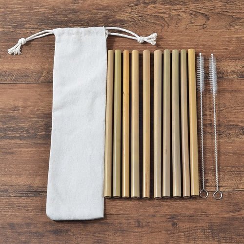 Set of 10 Bamboo Straws, Eco-Friendly, reusable and recyclable