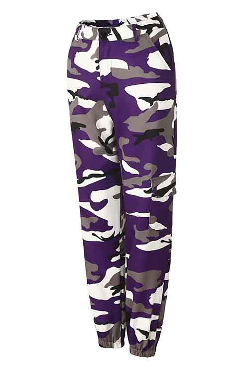 Plus Size Purple Camo Print Loose Casual Pants