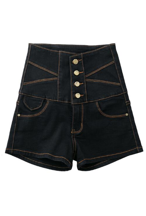 Plus Size Black High-waisted Denim Shorts jeans