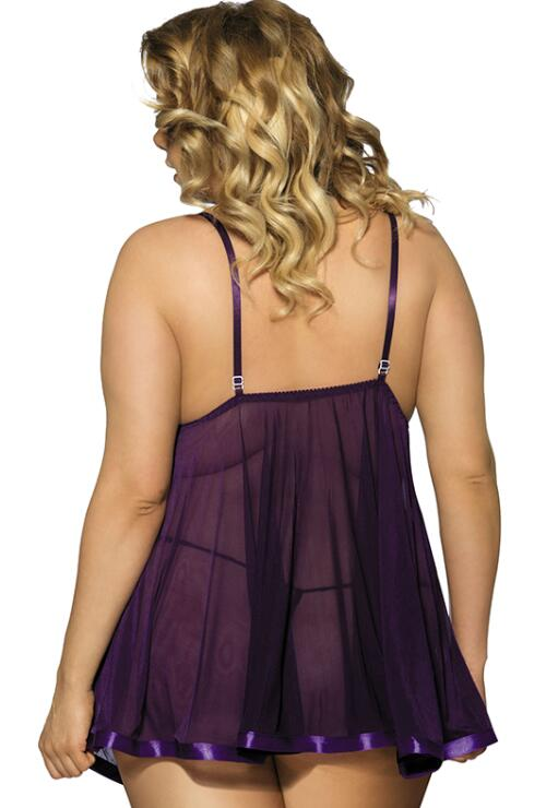 Purple Lace Pajamas Transparent Mesh Sling Plus Size Babydolls