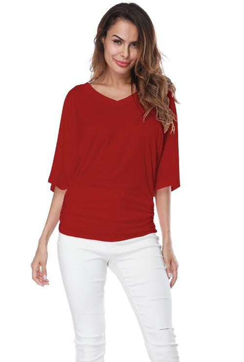 Red Loose Bat Sleeve V Collar Short Sleeve Plus Size T-shirt