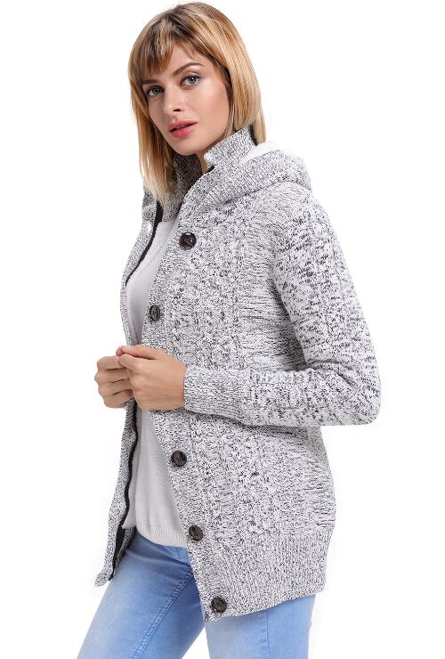 Grey Long Sleeve Hoodie Coat Cardigans Trench Sweater