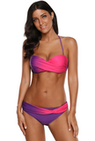Blue Twist Front Striped Halter Underwire Bikini Set