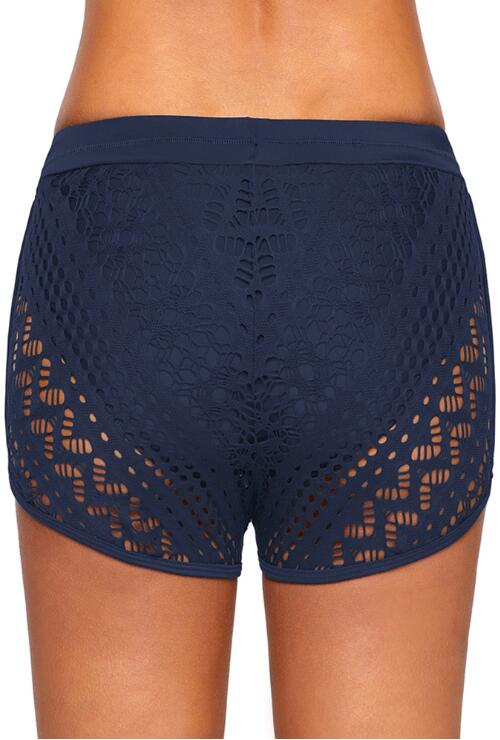Black Hollow Out Drawstring Swimming Shorts