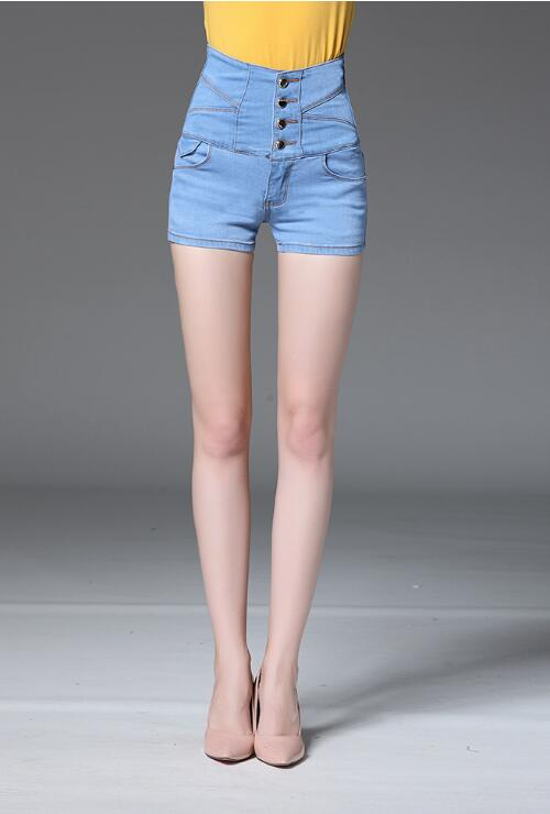 Plus Size Light Blue High-waisted Denim Shorts Jeans