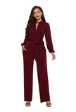 Burgundy High Waist Long Sleeves Jumpsuit