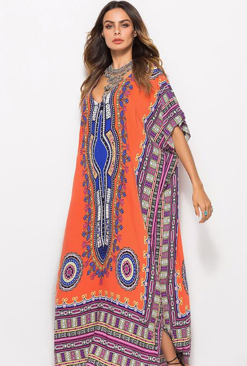 Orange Print Dress Beach Dresses