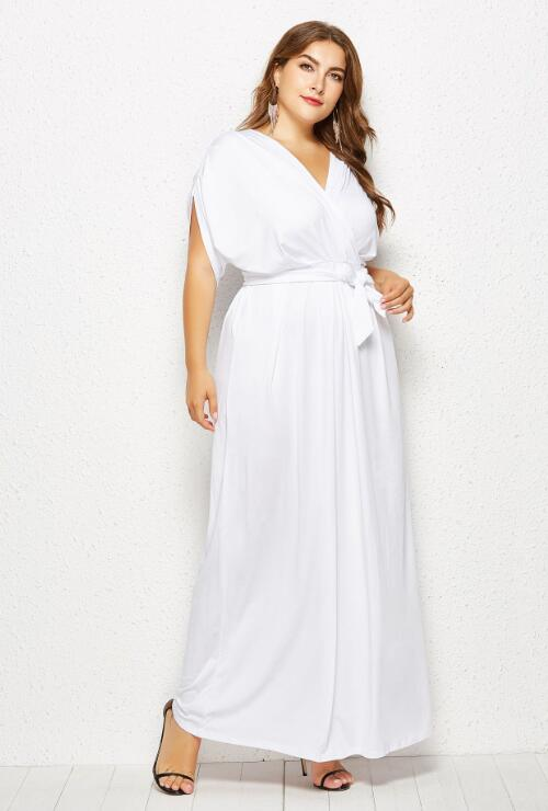 White Flutter Sleeve Jersey Knit Plus Size Maxi Dress – Blooms Boom