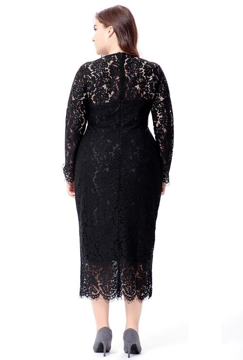 Black Long Sleeve Lace High Waist Skinny Dress Plus Size Dress