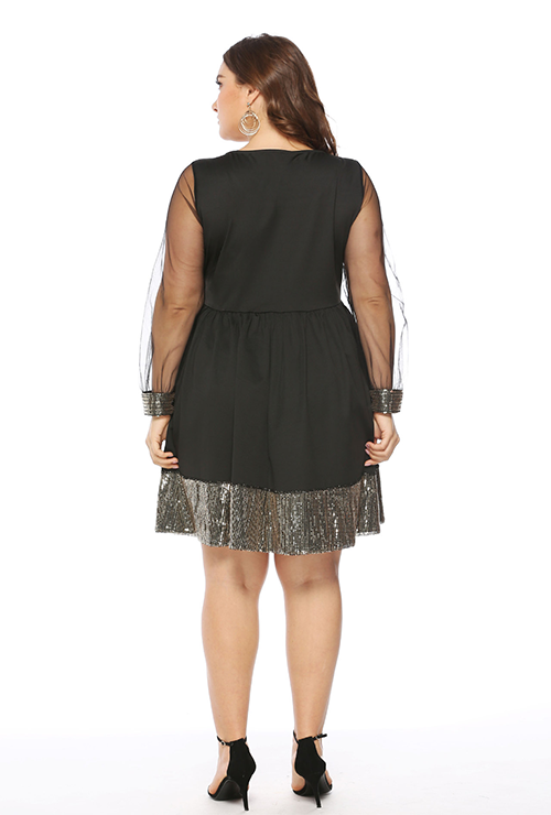 Plus Size Black Insert Lace Long Sleeve Sequin Party Dress