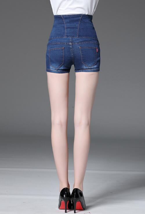 Plus Size Blue High-waisted Denim Shorts Jeans