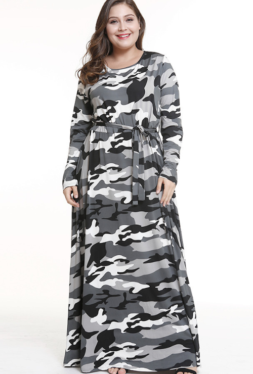 Grey Long Skirt Camouflage Long Sleeve Plus Size Maxi Dress – Blooms ...
