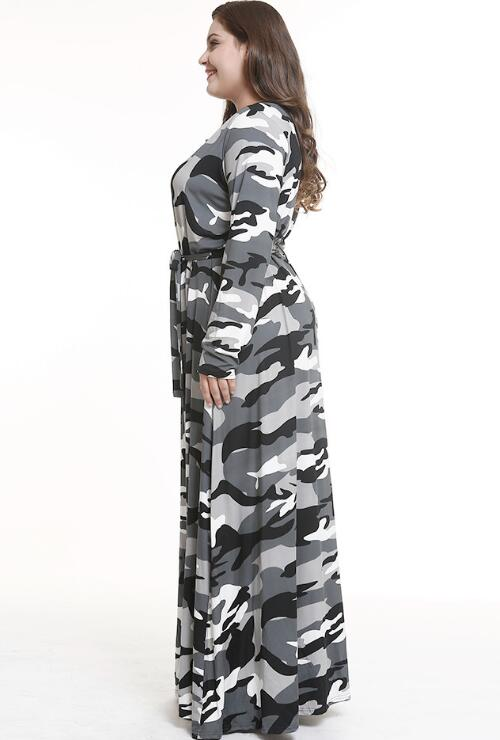 Grey Long Skirt Camouflage Long Sleeve Plus Size Maxi Dress