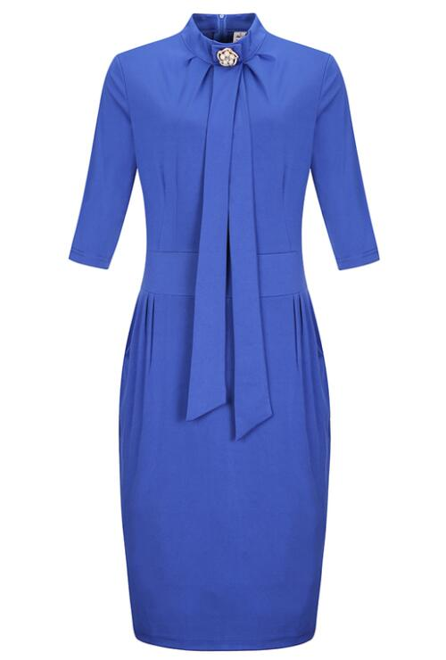 Blue Plus Size Bodycon Dresses Collar Pencil Working Dress
