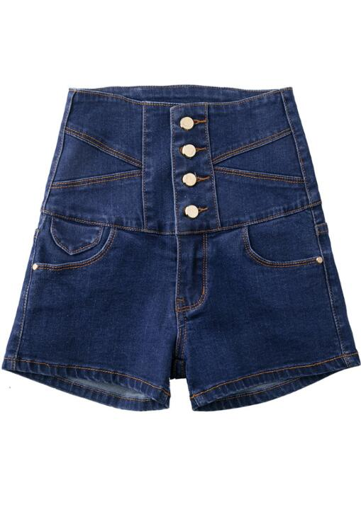 Plus Size Dark Blue High-waisted Denim Shorts jeans