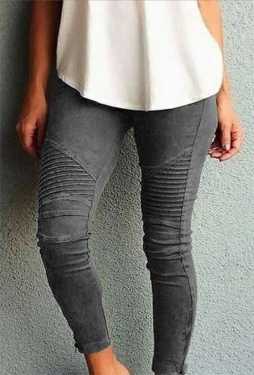 Grey Moto Mesh Inset Pants Plus Size Legging