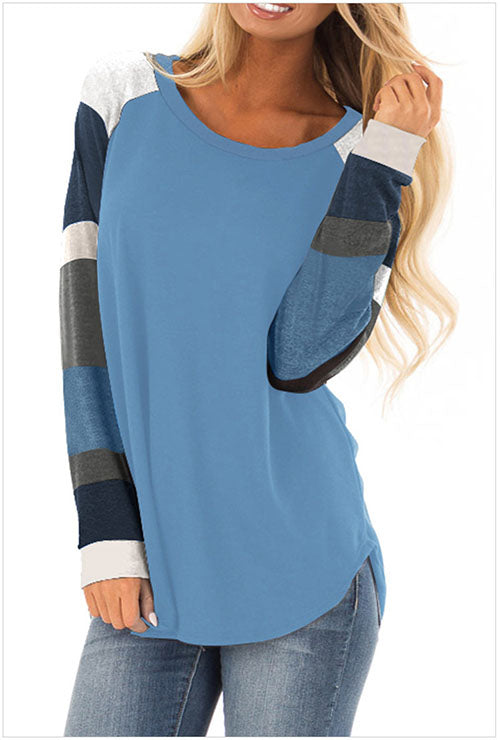 Blue Round Collar Long Sleeves T-shirt
