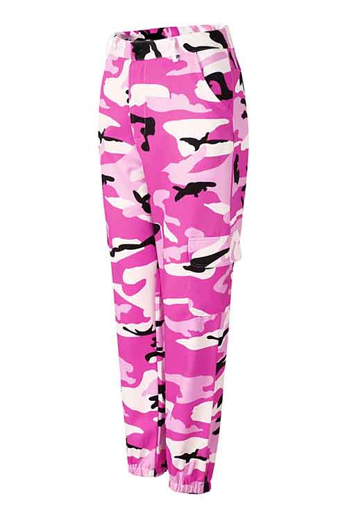 Plus Size Pink Camo Print Loose Casual Pants