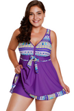 Purple Plus Size Cut Out Striped Tankini Set Swimsuit