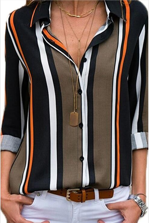 Grey Striped Lapel Long-sleeved Women's Plus Size Shirt