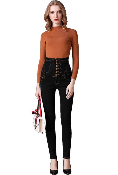Plus Size Black High Waist Denim Pants Stretch Pencil Jeans