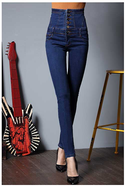Plus Size Dark Blue High Waist Denim Pants Stretch Pencil Jeans