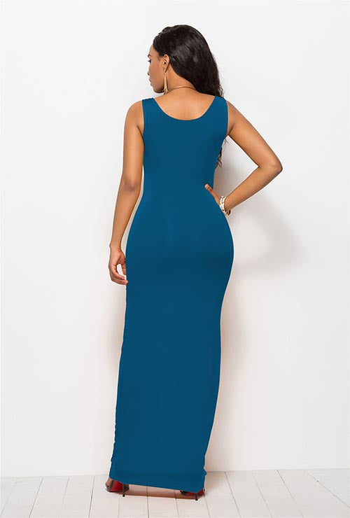 Plus Size Pure Color Sexy Tank Maxi Dresses