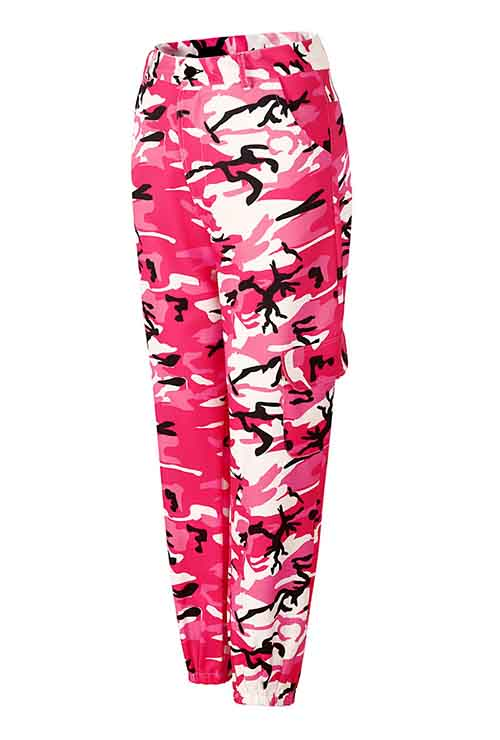Plus Size Red Camo Print Loose Casual Pants