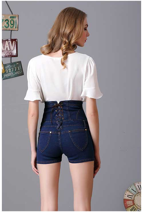 Dark Blue Plus Size High Waist Denim Shorts Waistband Short Jeans