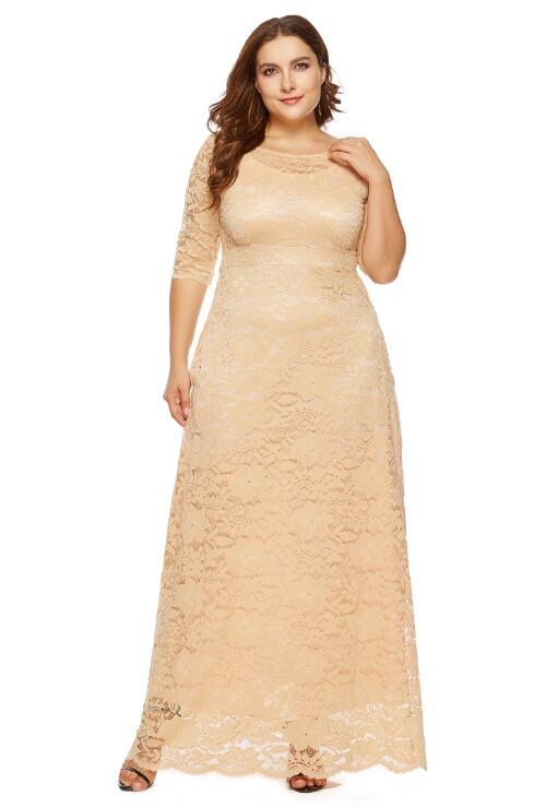White Plus Size Evening Gown Lace Pocket Party Dress