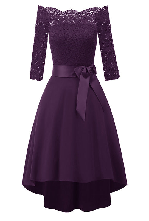 Purple Lace Tuxedo Party Dress