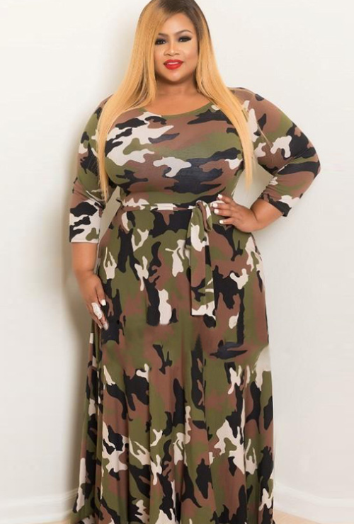 Green Long Skirt Camouflage Long Sleeve Plus Size Maxi Dress