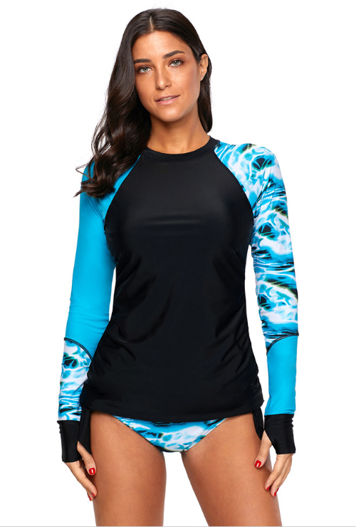 Blue Long Sleeve Tankini Set Two-piece Swimsuit