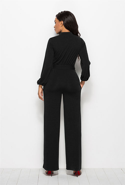 Black High Waist Long Sleeves Jumpsuit