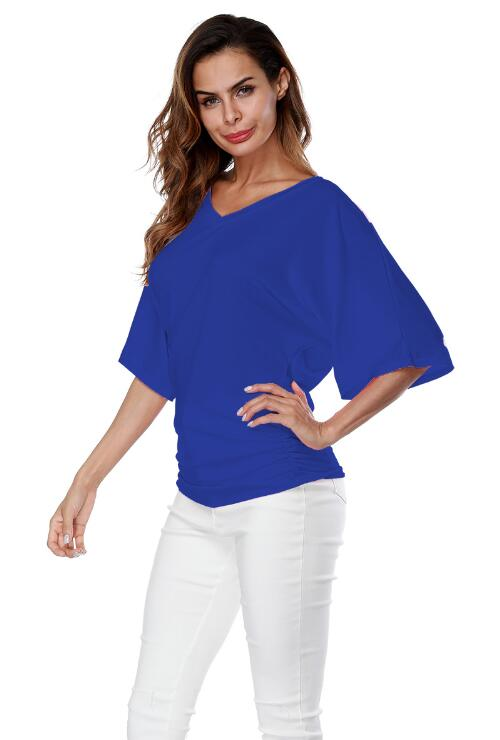 Blue Loose Bat Sleeve V Collar Short Sleeve Plus Size T-shirt