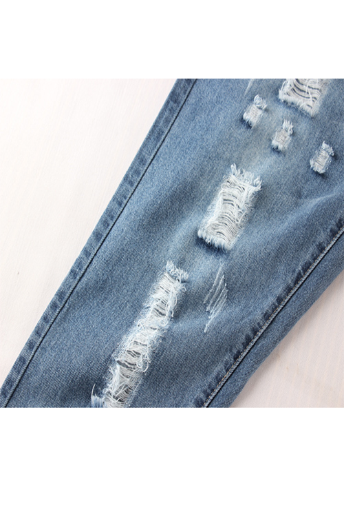 Plus Size High Rise Broken Hole Jeans