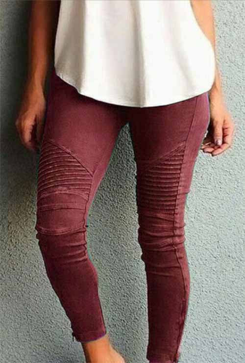 Burgundy Moto Mesh Inset Pants Plus Size Legging
