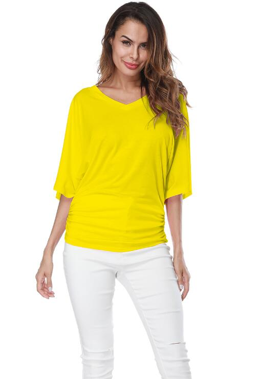 Yellow Loose Bat Sleeve V Collar Short Sleeve Plus Size T-shirt