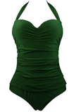 Green Plus Size Ruched One Piece Swimsuit
