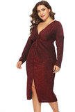 Plus Size Twist Front Knitted Shimmer Long Sleeves Bodycon Dresses