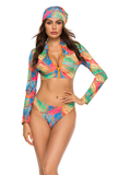 Three Piece Zip Embellished Plus Size Printed Long Sleeve Swimsuit
