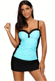 Plus Size Contrast Color Tankini Sets