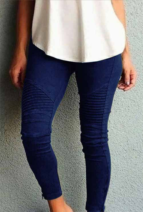Dark Blue Moto Mesh Inset Pants Plus Size Legging