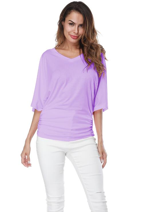 Purple Loose Bat Sleeve V Collar Short Sleeve Plus Size T-shirt