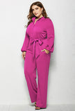 Plus Size High Waist Long Sleeve Jumpsuit