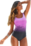 Back Criss Cross U Neck One-piece Swimsuit