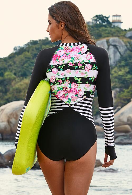 Black Surf Suit Zipper Plus Size Long Sleeve One Piece Swimsuit
